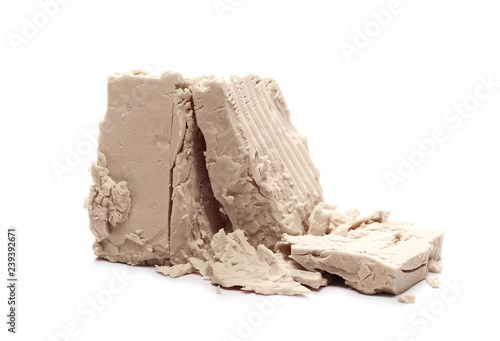 Fresh yeast isolated on white background