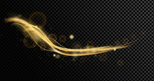 Vector Illustration Of Golden Dynamick Lights Linze Effect With Srarcles Isolated On Transparent Background. Abstract Background For Science, Futuristic, Energy Technology Concept. Digital Image Lines