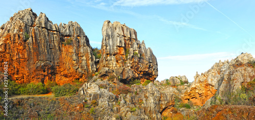 Photo  Panoramic view of Cerro del Hierro (The Iron Hill), eroded landscape of old aban