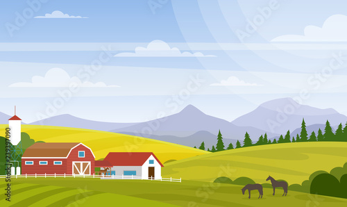 Photo sur Aluminium Bleu ciel Vector illustration of rural landscape. Beautiful countryside with farm and horses on fields, house and mountains for web design development, natural background in cartoon flat style.