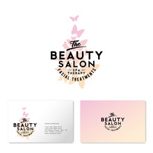 Beauty Salon Logo. Watercolor Butterflies And Lettering. Business Card. The Vintage Style.
