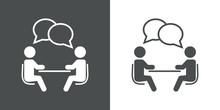 Icono Plano Reunión De Trabajo En Gris Y Blanco
