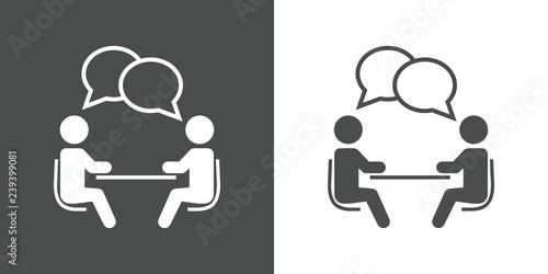Fototapeta Icono plano reunión de trabajo en gris y blanco obraz