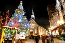 Petit-Champlain At Lower Old Town At Night On Christmas Event