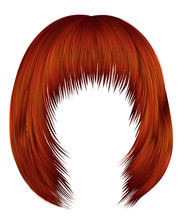 Trendy  WomanRed Ginger Redhead Colors . Hairs Kare With Fringe  .     Beauty Style .