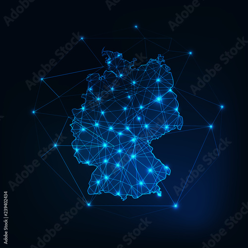 Obraz na plátně Germany map outline with stars and lines abstract framework.
