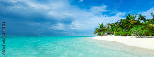 In de dag Tropical strand tropical Maldives island with white sandy beach and sea