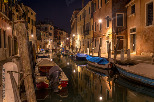 Fotografie, Obraz  Typical night canal street in Venice, Venezia, Italy