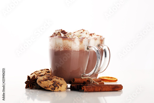 Foto op Plexiglas Chocolade Hot chocolate cocoa with whipped cream on table.