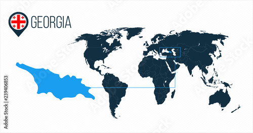 Georgia location on the world map for infographics. All world ...