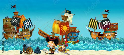 Aluminium Prints Pirates Cartoon scene of beach near the sea or ocean - pirate captain woman on the shore and treasure chest - pirate ships - illustration for children