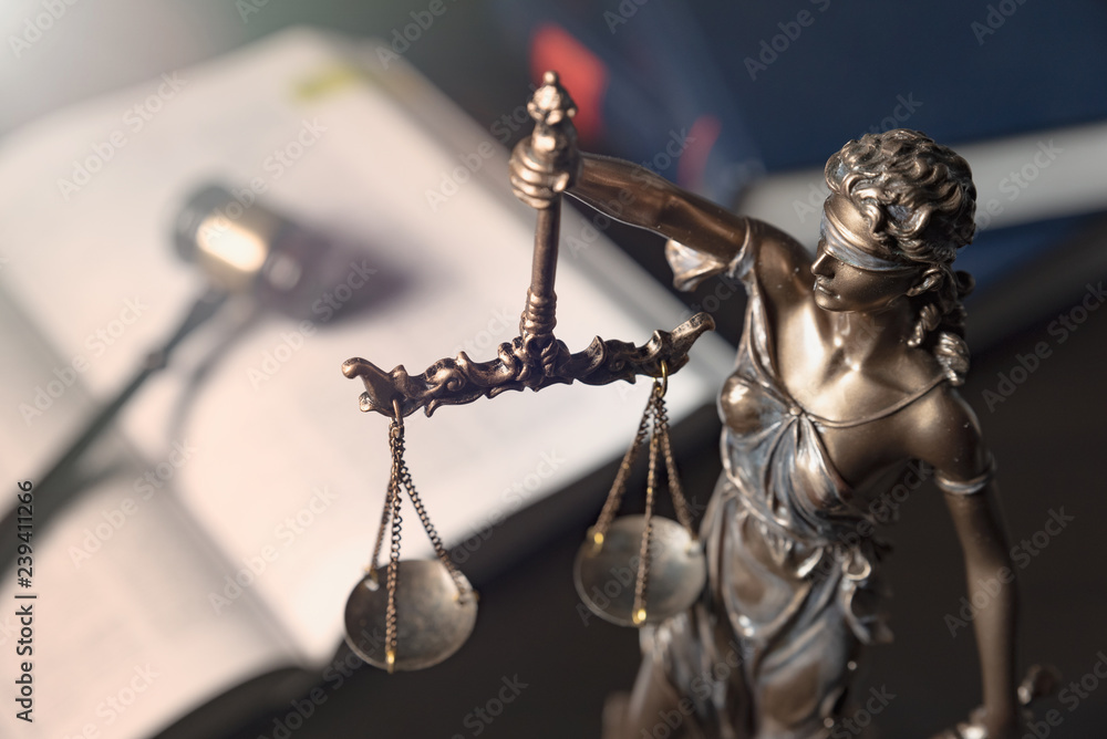 Fototapety, obrazy: Statue of justice on books background