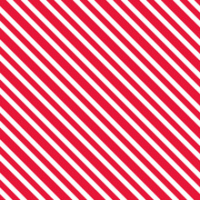 Candy Cane Stripes Seamless Pattern - Red And White Diagonal Stripes