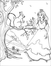 Squirrel With A Beautiful Princess. Coloring Book. 3