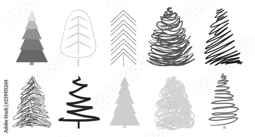 Fototapety, obrazy: Christmas trees on white. Set for design on isolated background. Geometric art. Objects for polygraphy, posters, t-shirts and textiles. Black and white illustration