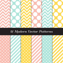 Yellow, Mint, Coral And White Polka Dots, Chevron And Candy Stripes Patterns. Modern Geometric Easter Backgrounds. Repeating Pattern Tile Swatches Included.