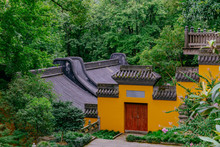 Buildings With Yellow Wall, Red Door, And Black Roof Tiles, Lingyin Temple, Hangzhou, China