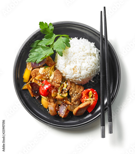 plate of asian food Canvas Print