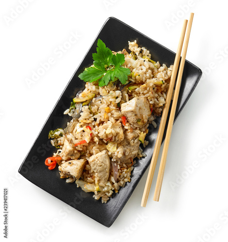 Photo  plate of asian food