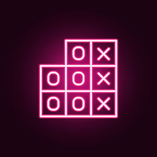 Tic-tac-toe Game Icon. Elements Of Web In Neon Style Icons. Simple Icon For Websites, Web Design, Mobile App, Info Graphics