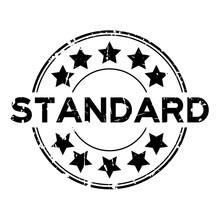 Grunge Black Standard Wording With Star Icon Round Rubber Seal Stamp On White Background
