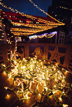 Christmas Festival Light Garlands Decoration On House Porch In City