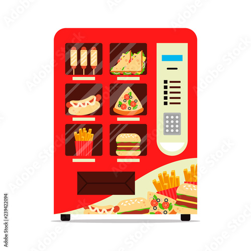 Obraz Hot food automatic vending machine with sausage dough sandwich pizza french fries hamburger isolated on white. Red vendor machine front view automatic seller. Meal dispenser flat vector illustration - fototapety do salonu