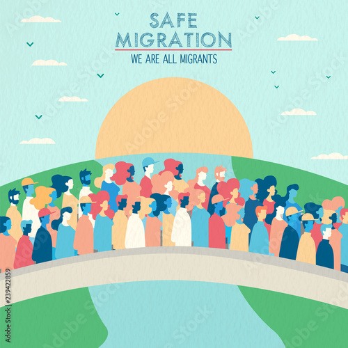 Fotografie, Obraz Safe migration concept of people crossing bridge