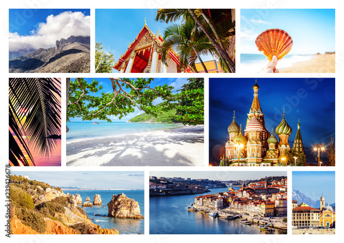 Travel Collage Different Destination From Over The World For Vacation And Travel Can Be Used For Cover Design Brochures Flyers With Space For Text Buy This Stock Photo And Explore Similar