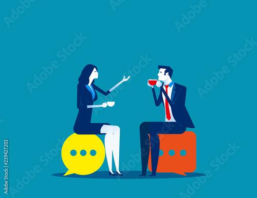 Business people meeting talking Canvas Print