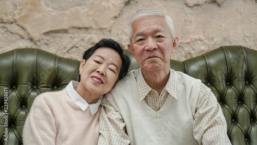 Fotografie, Obraz  Wealthy Asian elderly couple happy in luxury house