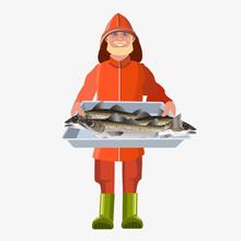 Man With Tray Fish