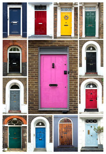 Photo Collage of colorful doors in London in UK