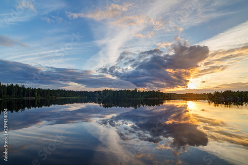 Aluminium Prints bright summer sunset with reflections