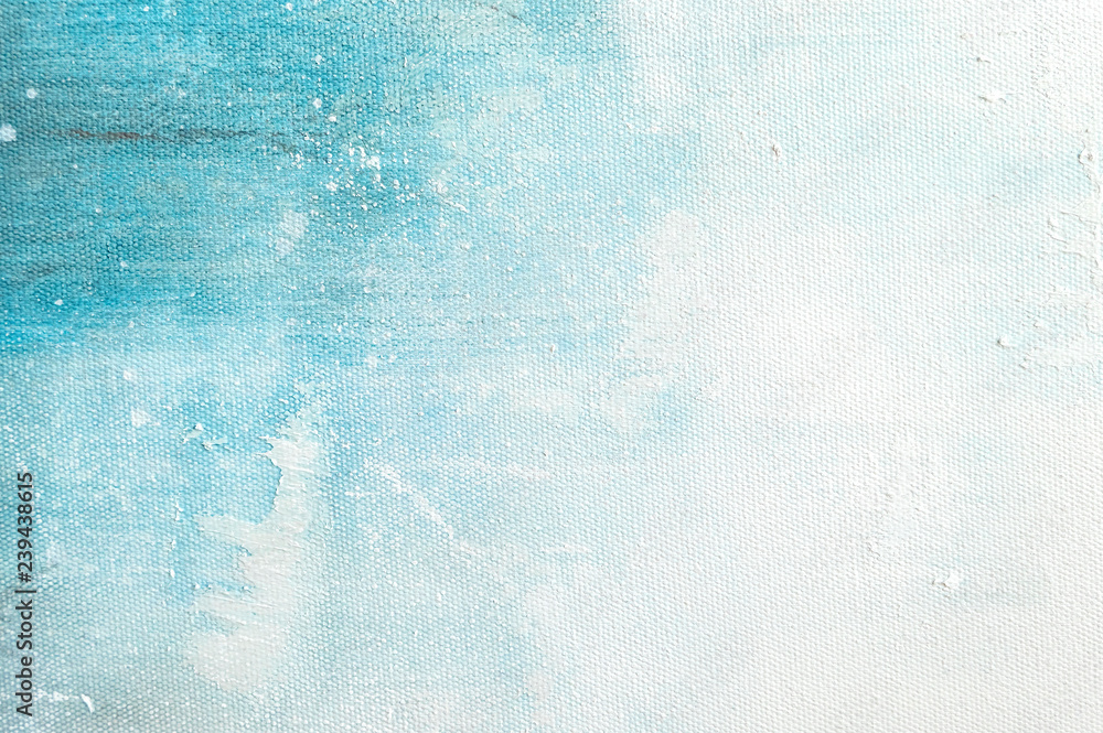 Fototapety, obrazy: Canvas texture background with abstract blue colorful art painting.