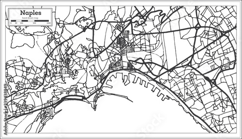 Fotografie, Tablou  Naples Italy City Map in Retro Style. Outline Map.