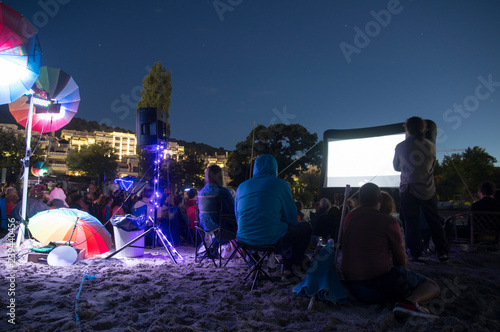 CINEMA ON THE BEACH AT NIGHT SKY WITH VIEW Wallpaper Mural