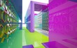 Abstract dynamic interior with gradient colored objects. 3D illustration and rendering