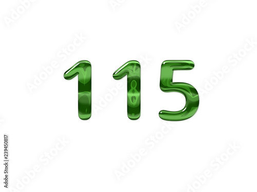 Fotografia  Green Number 115 isolated white background