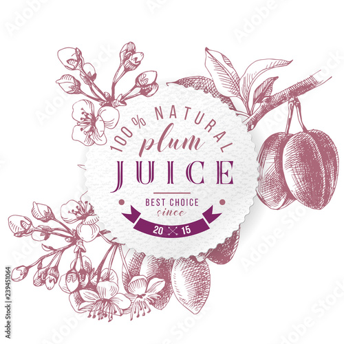 Photo Plum juice paper emblem over hand drawn plum branch