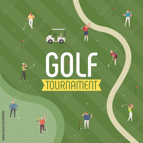 People enjoying golf in the field. poster concept illustration. flat design vector graphic style. Fototapete