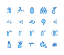 Spray Can Flat Line Icons Set. Hand With Aerosol, Airbrush, Powder Coating, Graffiti Art, Cough Effect Vector Illustrations. Thin Signs For Disinfection, Cleaning. Pixel Perfect 64x64 Editable Stroke