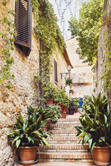 Fototapeta Uliczki Beautiful street with flowers in the San Gimignano town, Tuscany, Italy, Popular touristic destination in Europe