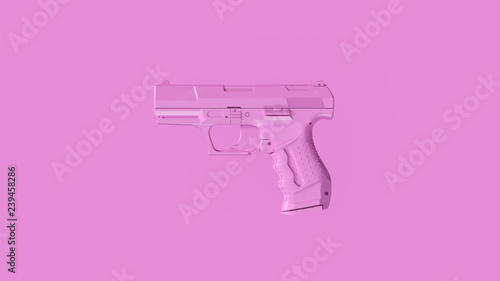 Canvas Print Small Pink Modern Hand Gun 3d Illustration 3d Rendering