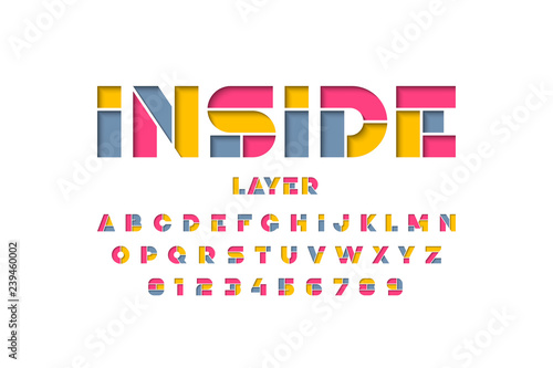 Fotografía  Layered font design, alphabet letters and numbers