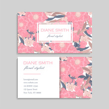 Business Card With Beautiful F...
