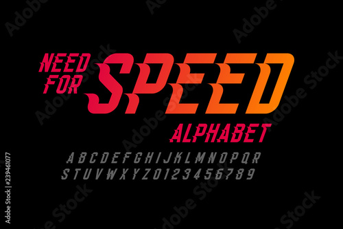 Speed style font, need for speed alphabet letters and numbers Wallpaper Mural