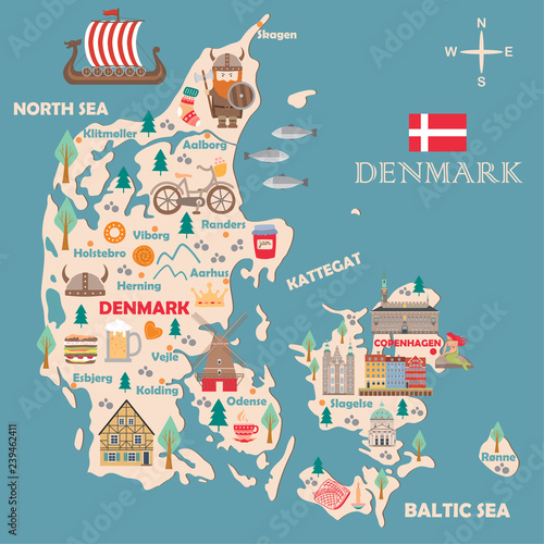 Stylized map of Denmark Tablou Canvas
