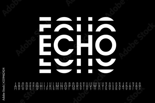 Echo style modern font, alphabet letters and numbers