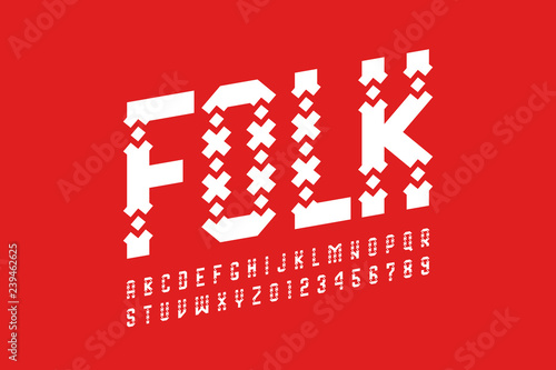 Valokuva Folk style font design, alphabet letters and numbers
